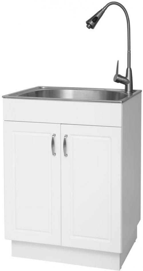 Details About Utility Sink Laundry Tub Cabinet All In 1 Stainless Steel Bowl Glacier Bay White