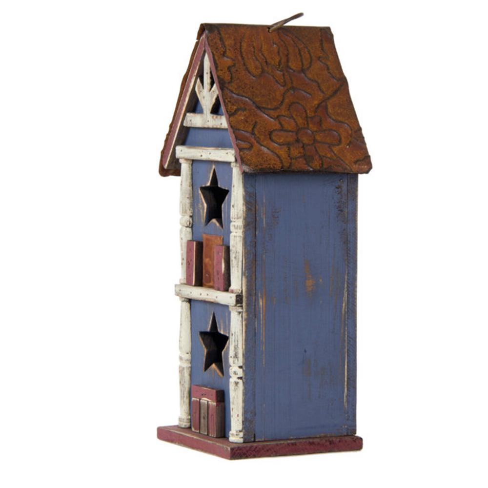 Wooden Bird House Birdhouse Hanging Nest Nesting Box W// Hook Home Garden Deco wv