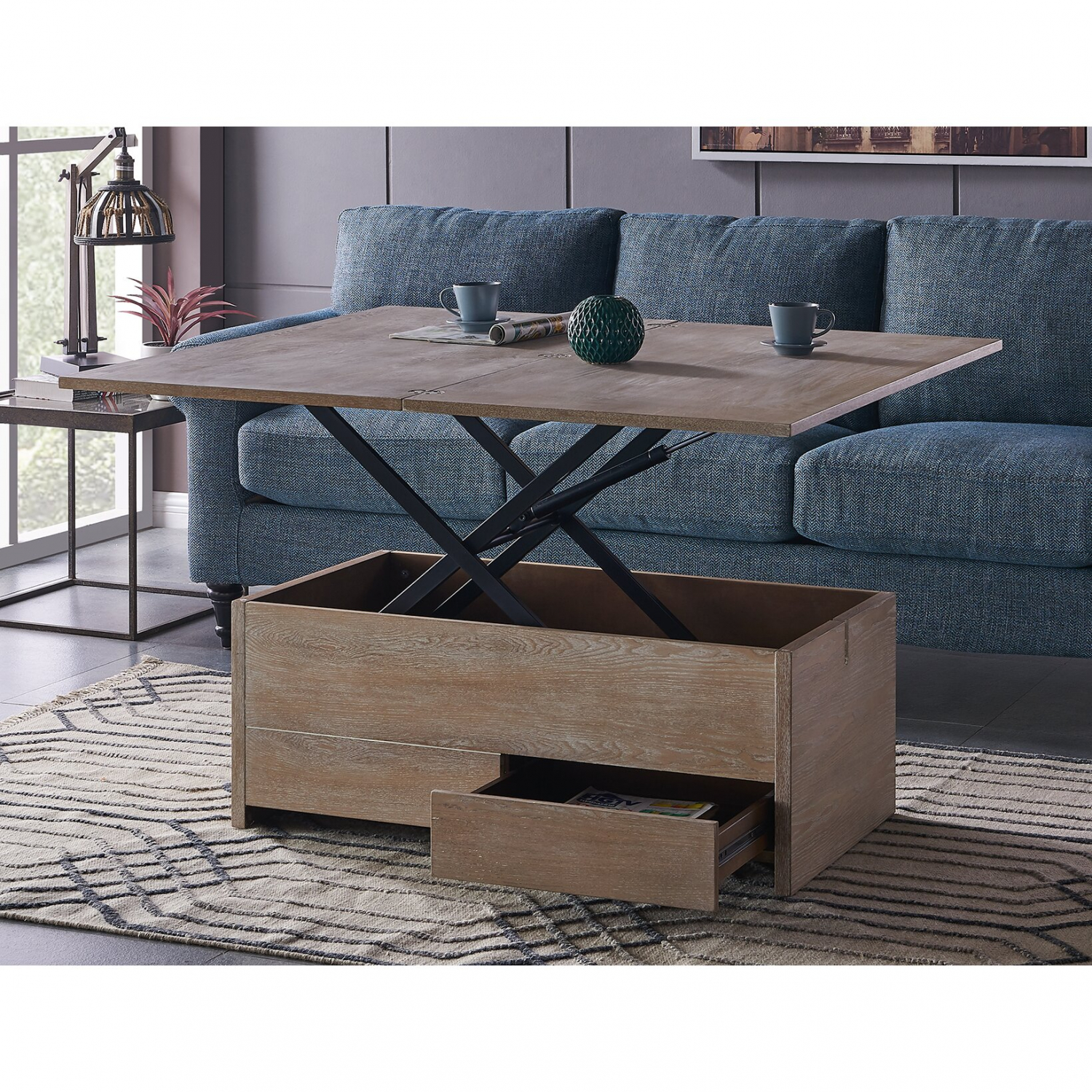 Mcdougal Lift Top Extendable Block Dining Coffee Table Convertible With Storage Ebay