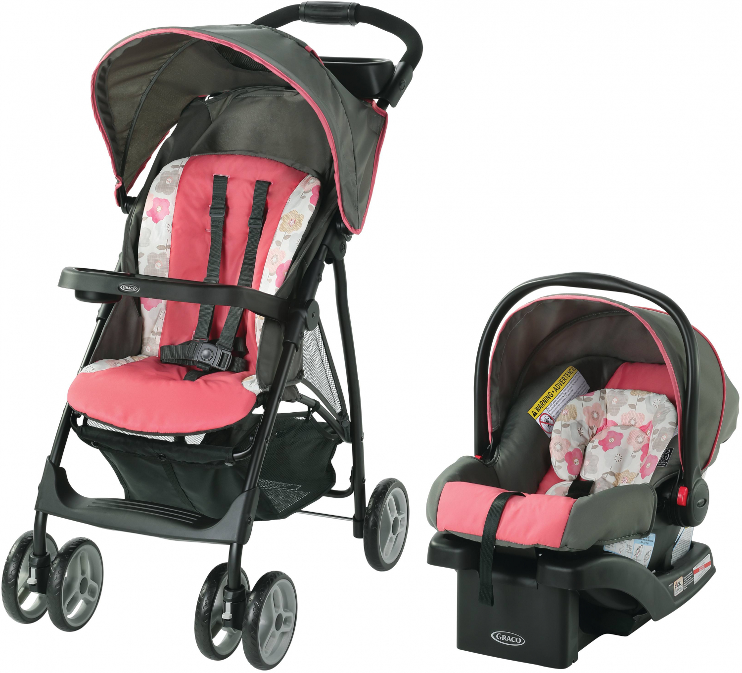 Details About Travel System Baby Girl Lightweight Infant Car Seat Stroller Combo Black