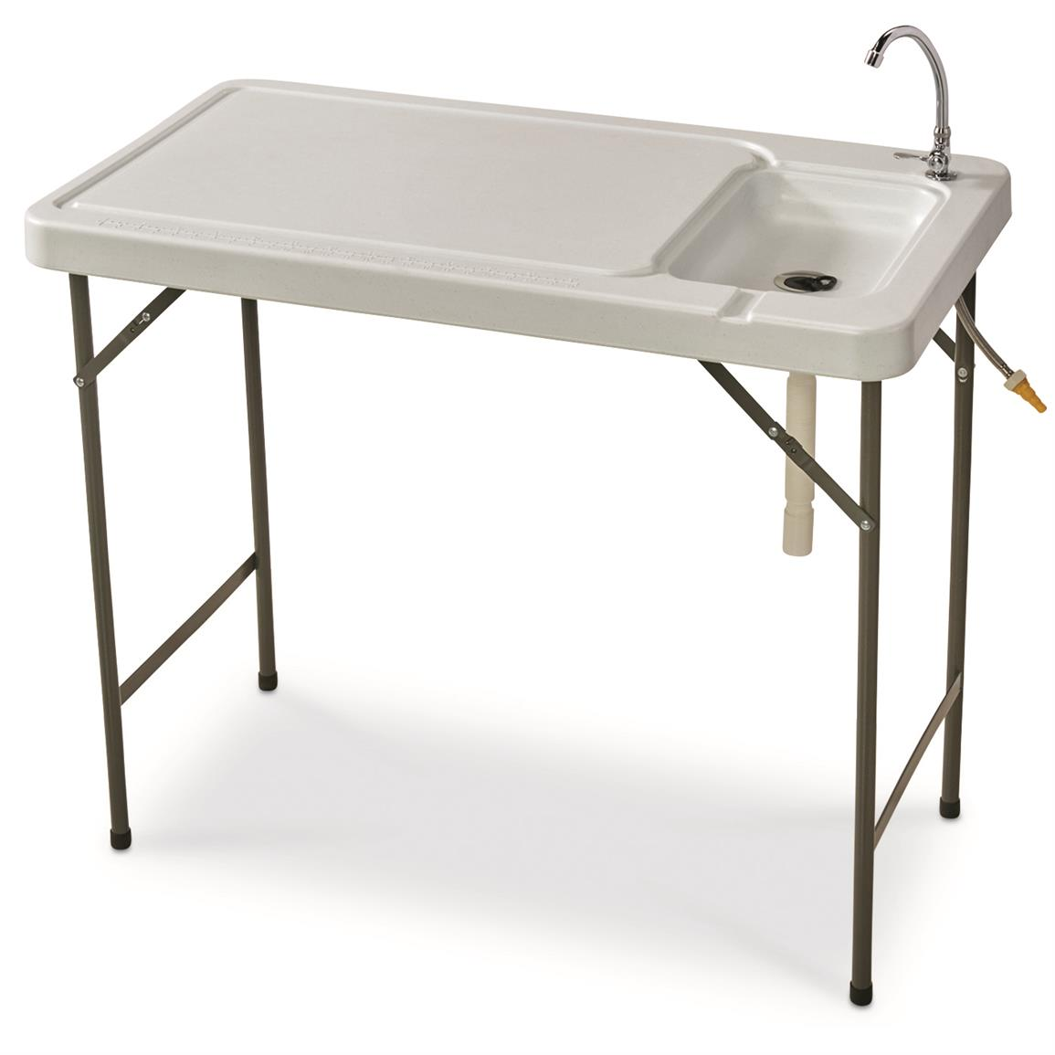 Details About Portable Fish Cleaning Table With Sink Faucet Folding Stainless Steel Faucet