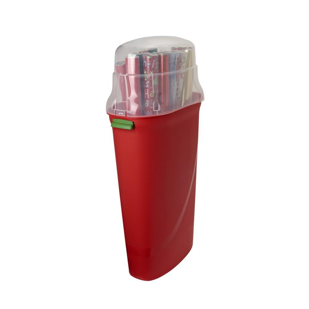 Homz Holiday Wrapping Paper Storage Box 30 In Red Base Clear Lid W Carry 2 Ebay