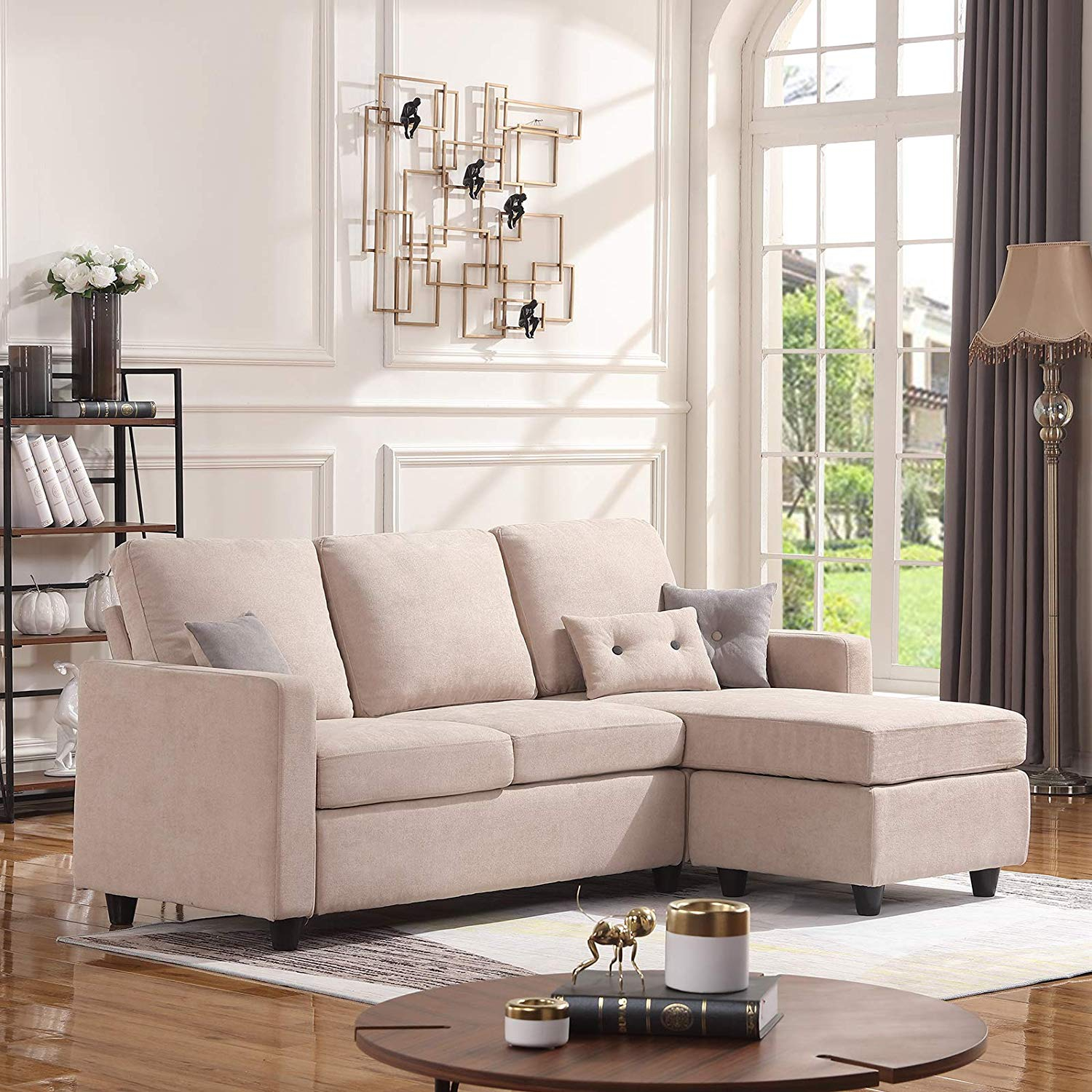 Details about Convertible Sectional Sofa Couch L-Shaped Modern Linen Fabric  Small Space