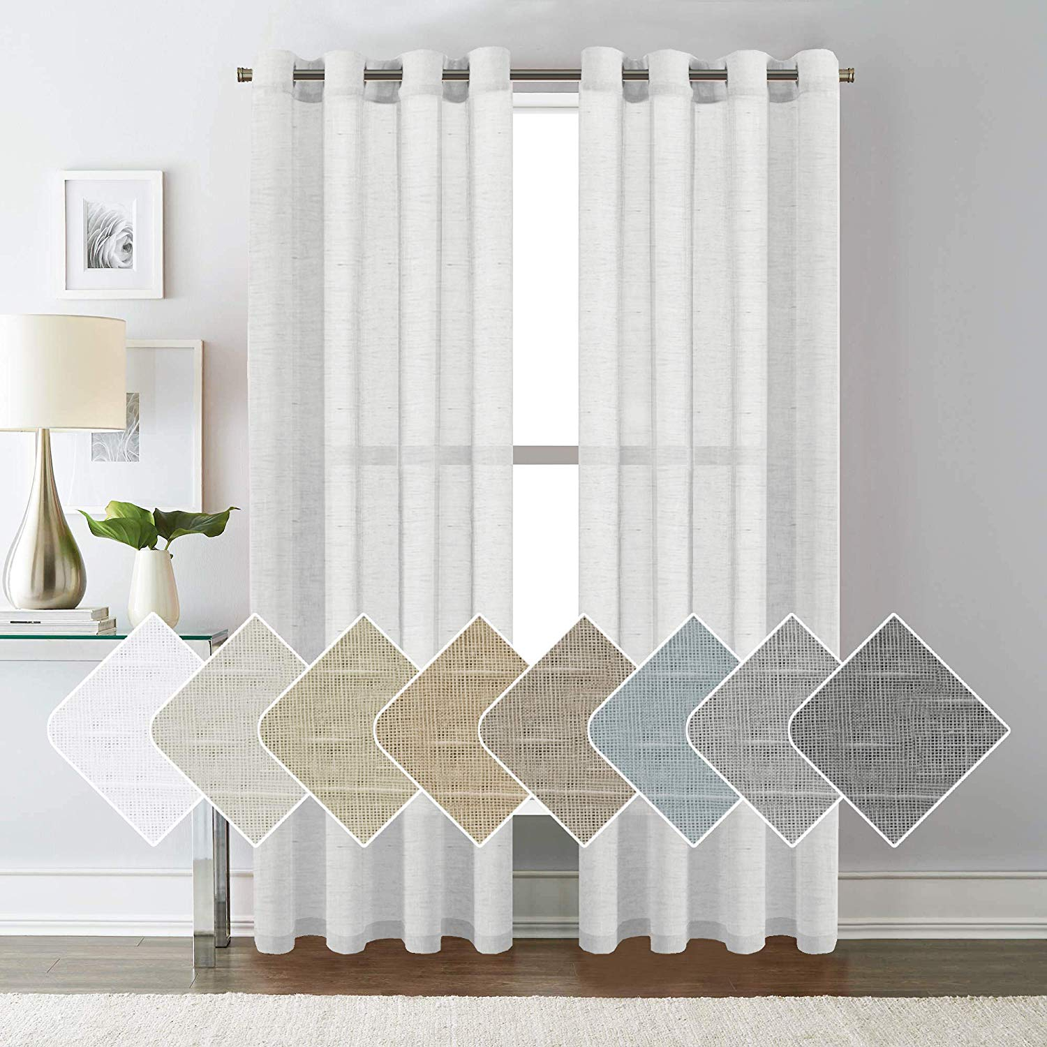 Details about Home Bedroom 52 x 84 Premium Luxury 2 Panel Window Sheer  Curtain Set, White