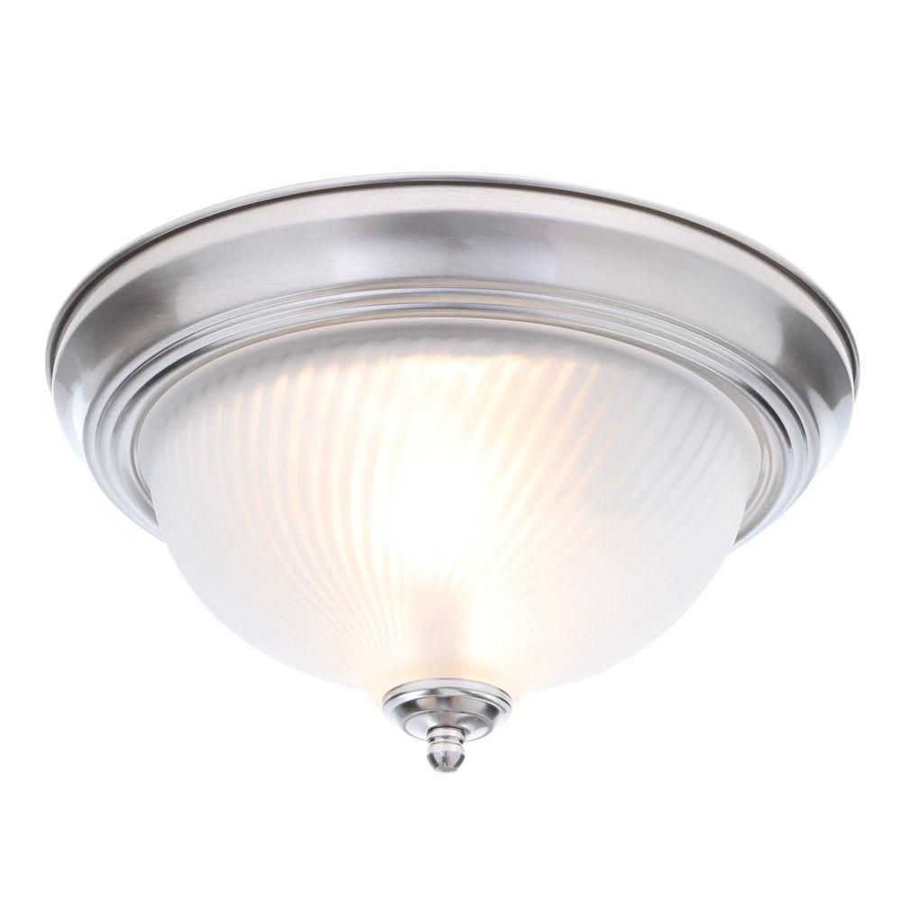 Details About Hampton Bay 11 In 2 Light Brushed Nickel Flush Mount Frosted Swirl Gl Shade