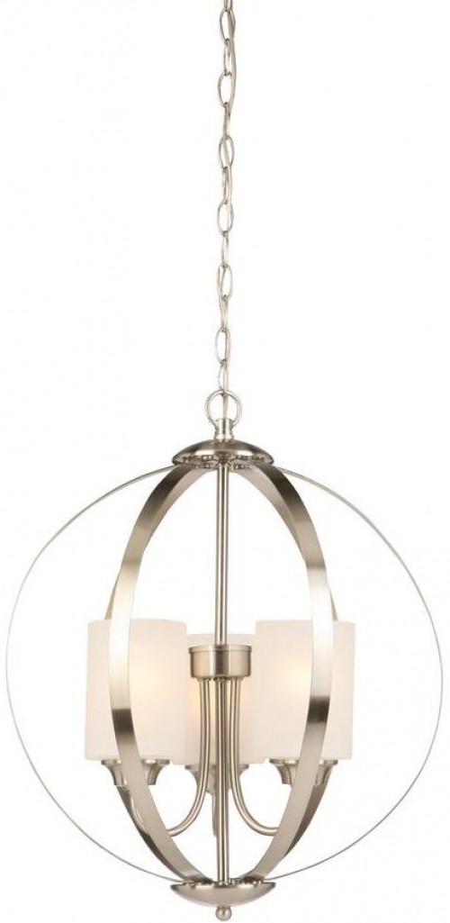 Details About 3 Light Chandelier Brushed Nickel Hampton Bay Etched White Gl Shades Modern