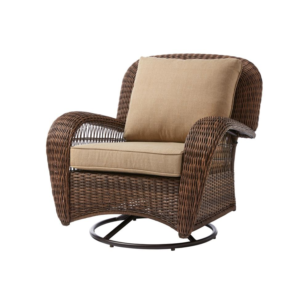 Swivel Lounge Chair Wicker Toffee