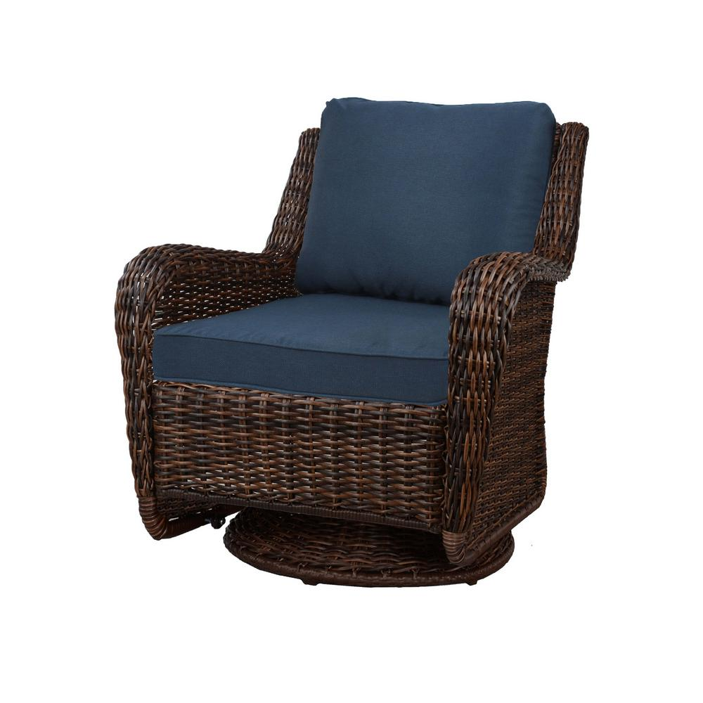 Magnificent Details About Swivel Outdoor Rocking Chair W Blue Cushions Cambridge Brown Patio Furniture Ncnpc Chair Design For Home Ncnpcorg