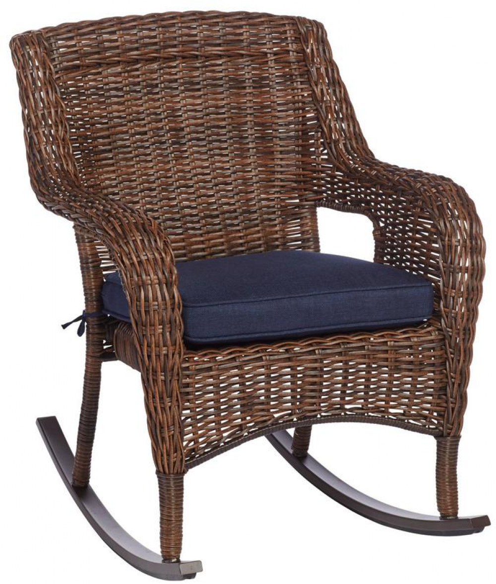 Details About Hampton Bay Cambridge Brown Wicker Outdoor Rocking Chair With Blue Cushions