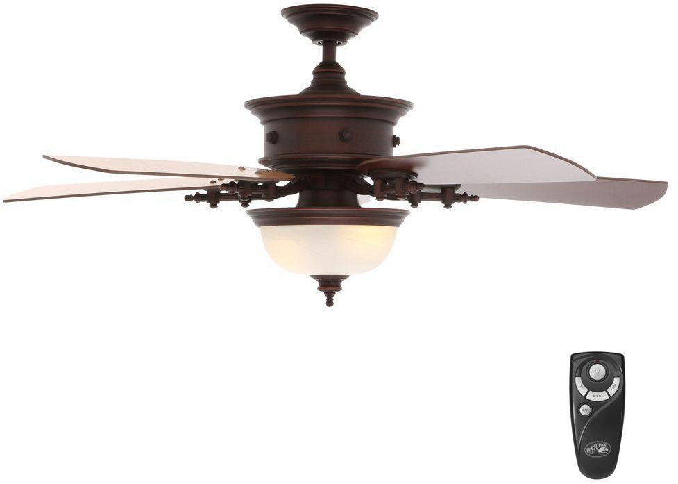 Details About Hampton Bay Ceiling Fan Light Kit 54 In Indoor Weathered Copper Remote Control