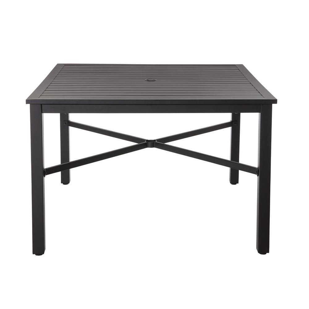 Details About Outdoor Dining Table With Slat Top 42 In Black Square Metal 4 5 Person Capacity