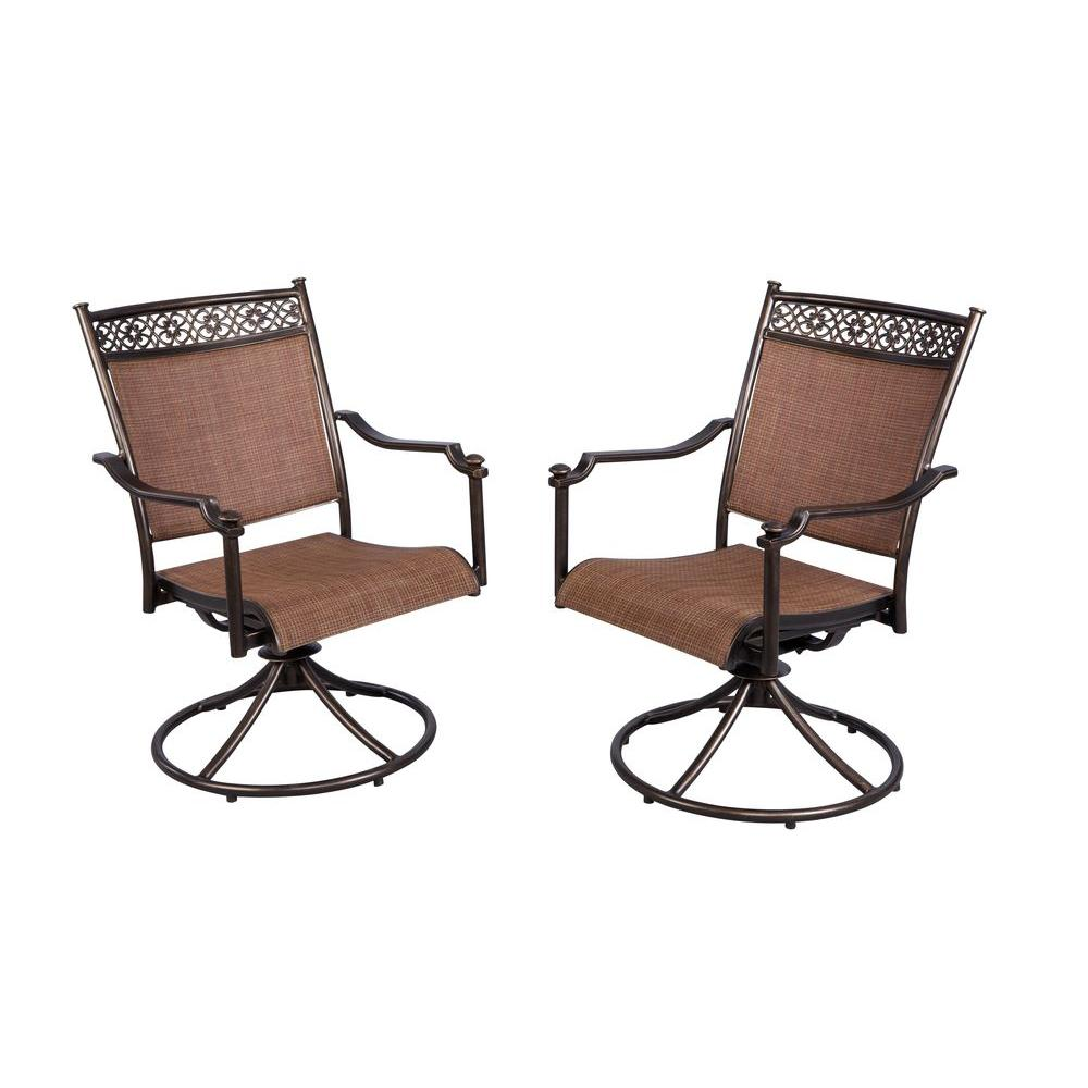 Details About Outdoor Dining Chair Swivel Rocking Rust Resistant Aluminum Frame 2 Pack