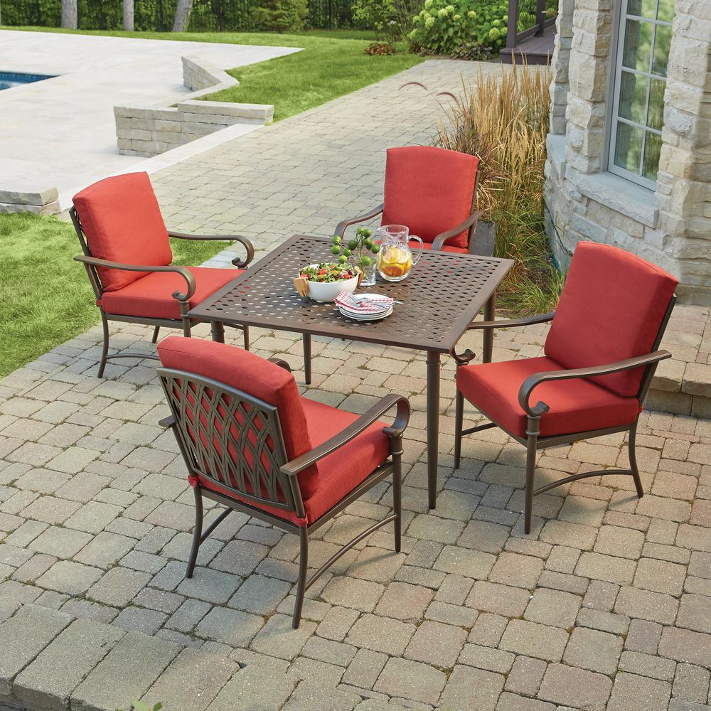 Details About Hampton Bay Oak Cliff Metal Outdoor Dining Set 5 Piece With  Chili Cushions