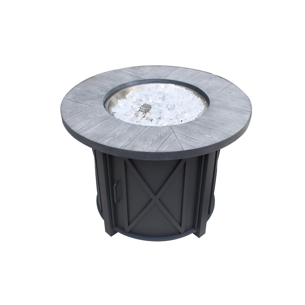 Hampton Bay 35 in Round Steel Propane Fire Pit Outdoor ...