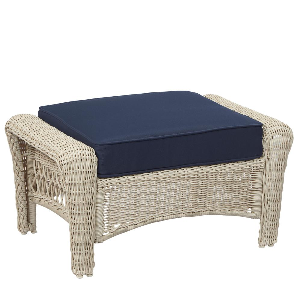 Super Details About Hampton Bay Park Meadows Off White Wicker Outdoor Ottoman With Midnight Cushion Inzonedesignstudio Interior Chair Design Inzonedesignstudiocom