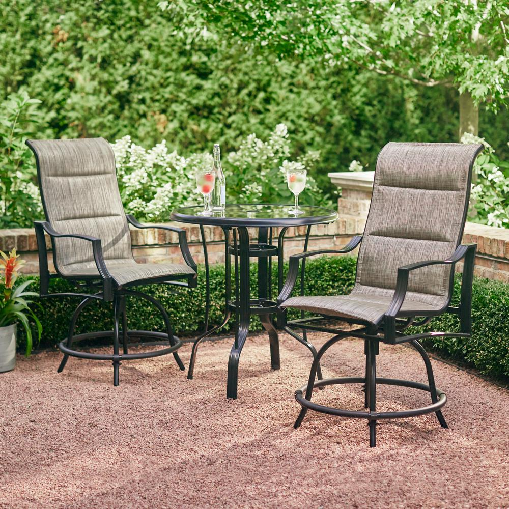 Outdoor Bistro Coffee Table w/ Chair Patio Set Heavy duty Steel 3