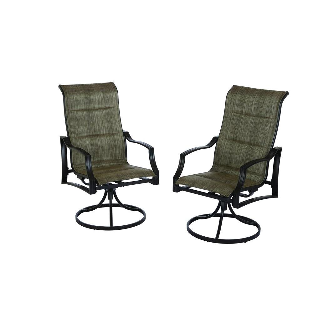 Details about H&ton Bay Patio Dining Chair Padded Sling Fabric Swivel Motion (2-Pack)  sc 1 st  eBay & Hampton Bay Patio Dining Chair Padded Sling Fabric Swivel Motion (2 ...