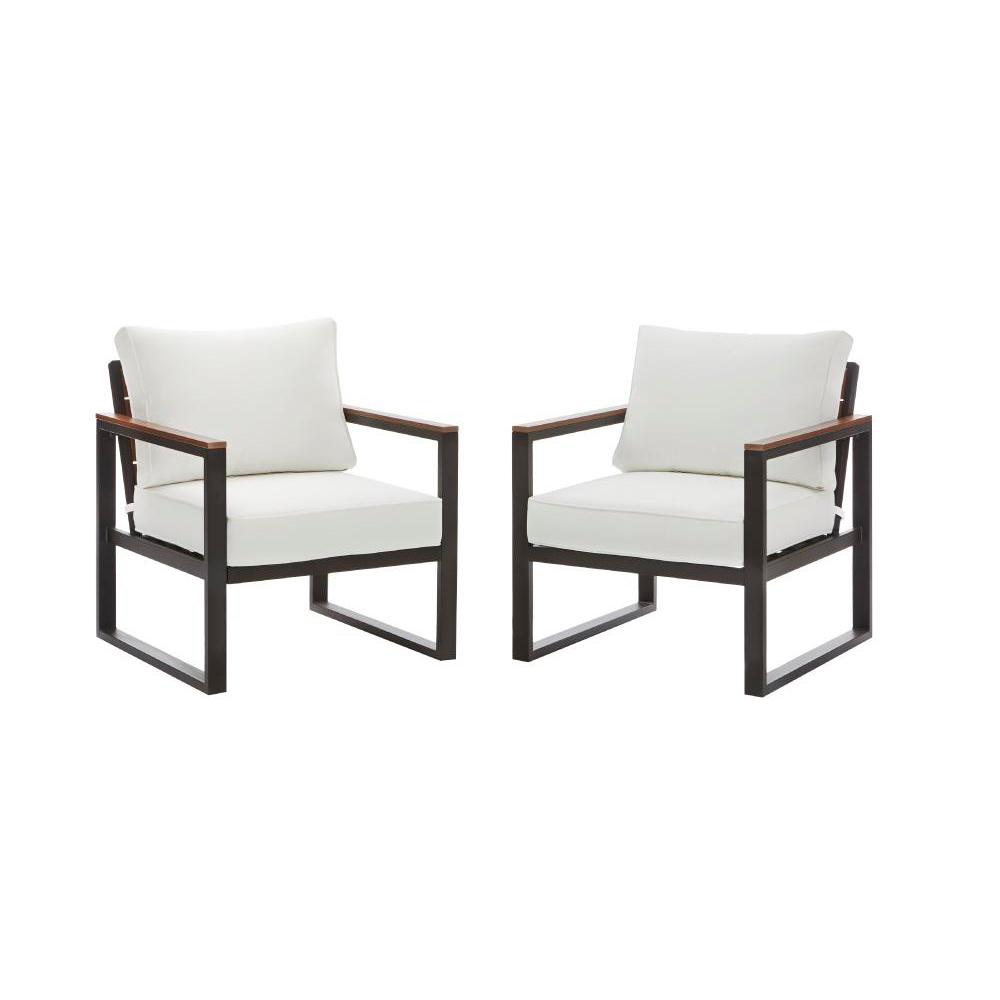 Hampton Bay West Park Aluminum Outdoor Lounge Chair With CushionGuard White  Cushions (2 Pack)