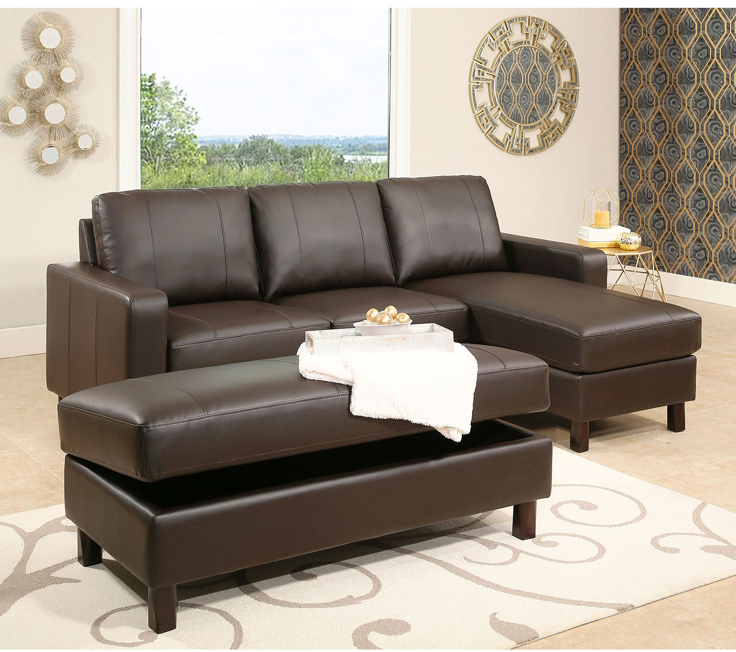 Fabulous Details About Abbyson Living Room Brown Leather Reversible Sectional Sofa And Storage Ottoman Bralicious Painted Fabric Chair Ideas Braliciousco