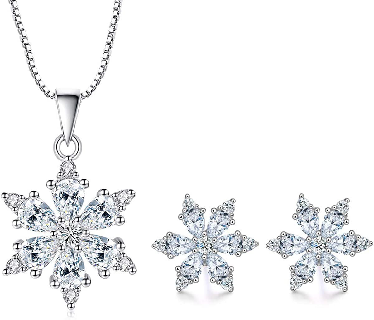 Sterling Silver 18 CZ Snowflake Necklace Crystal Snowflake Necklace Silver Snowflake Necklace