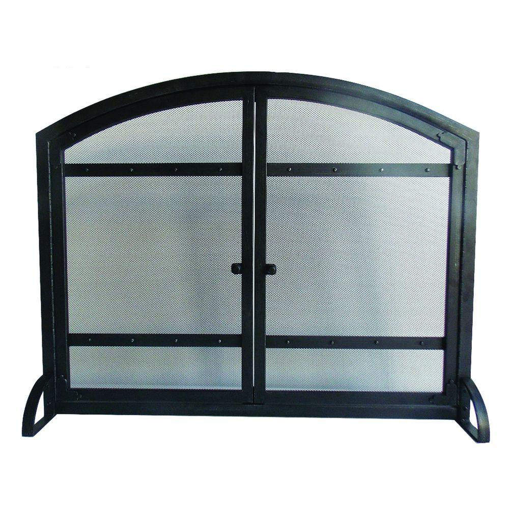 Harper Fireplace Screen With Doors 1 Panel Mesh Freestanding Steel Antique Black Ebay