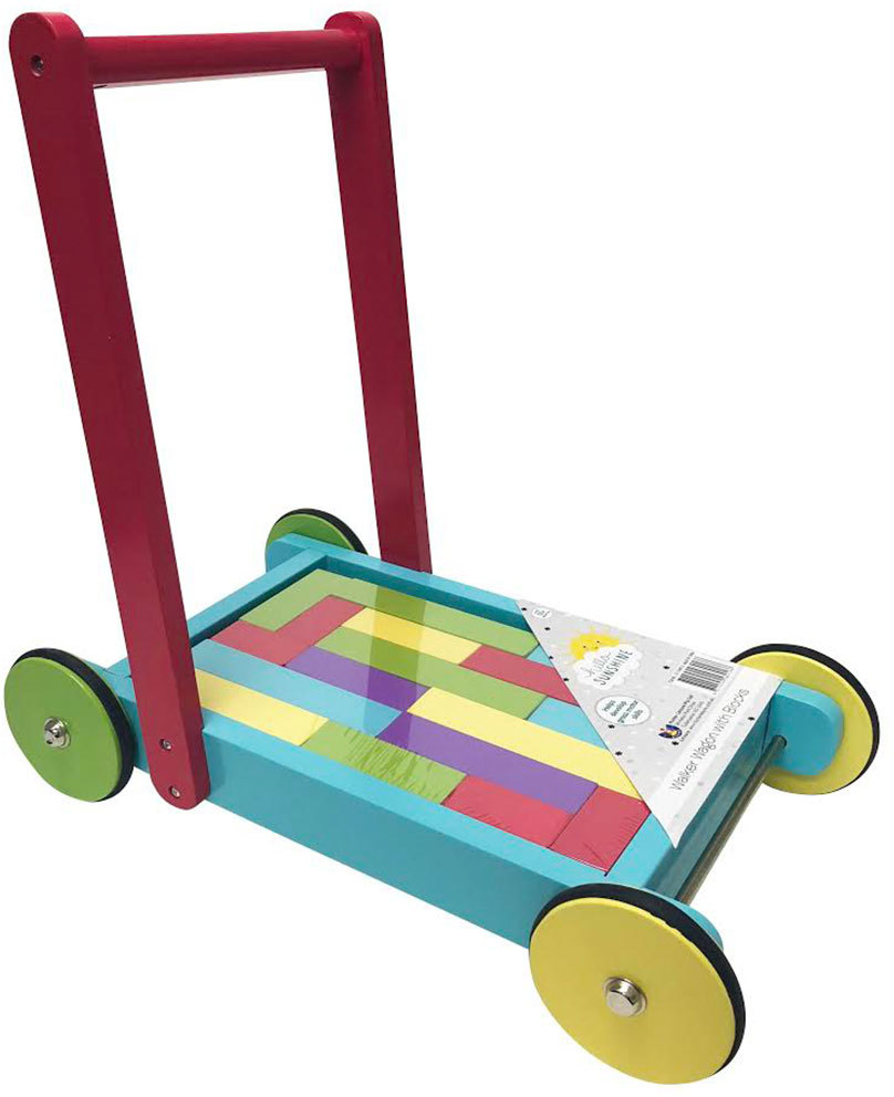 Details About Toddler Colorful Wooden Walker Wagon Baby Building Blocks Toy Push Wheel Cart