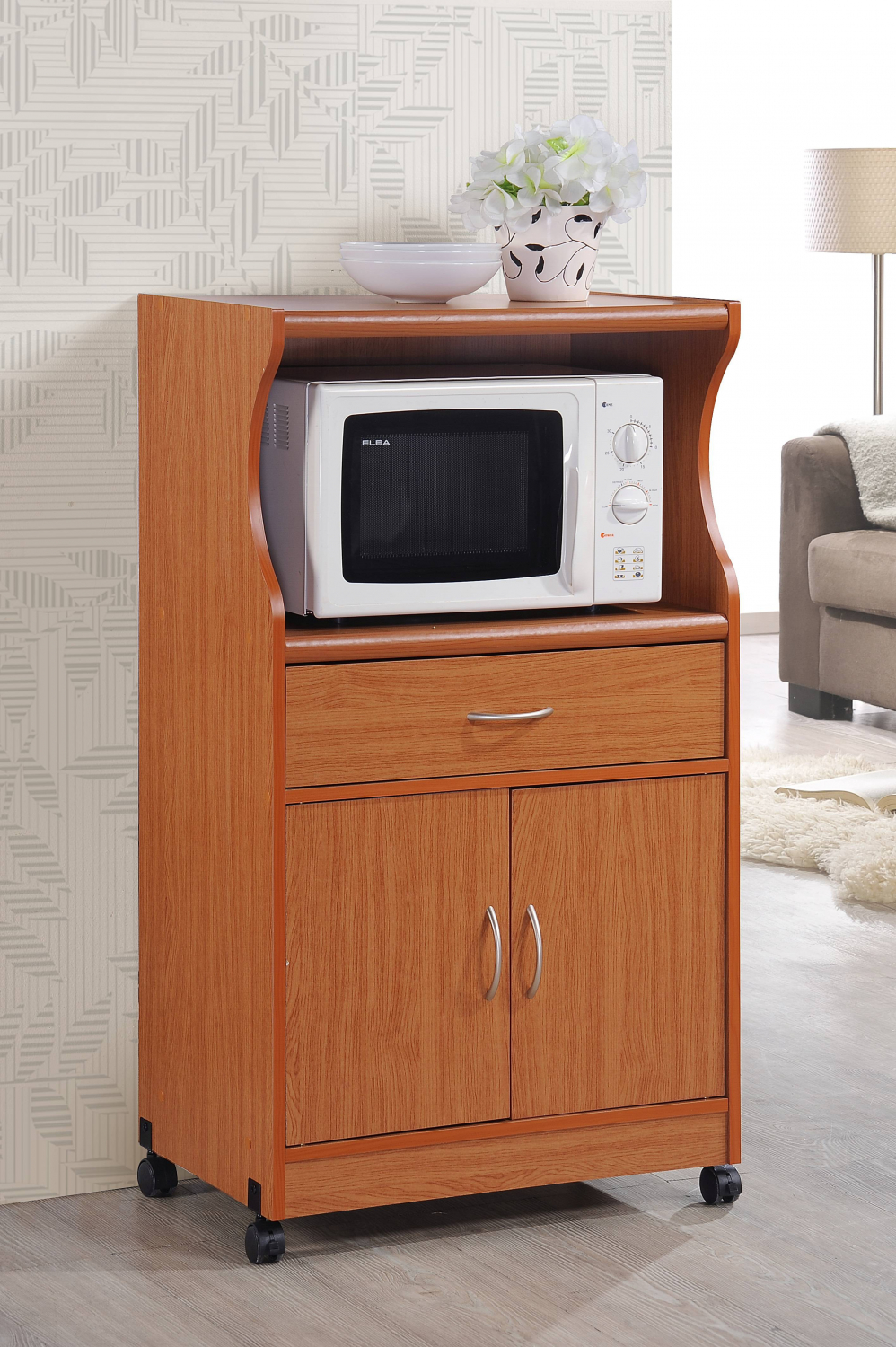 Details about Hodedah Cherry Microwave Kitchen Rolling Cart Stand Wood  Drawer 2-Door Cabinet