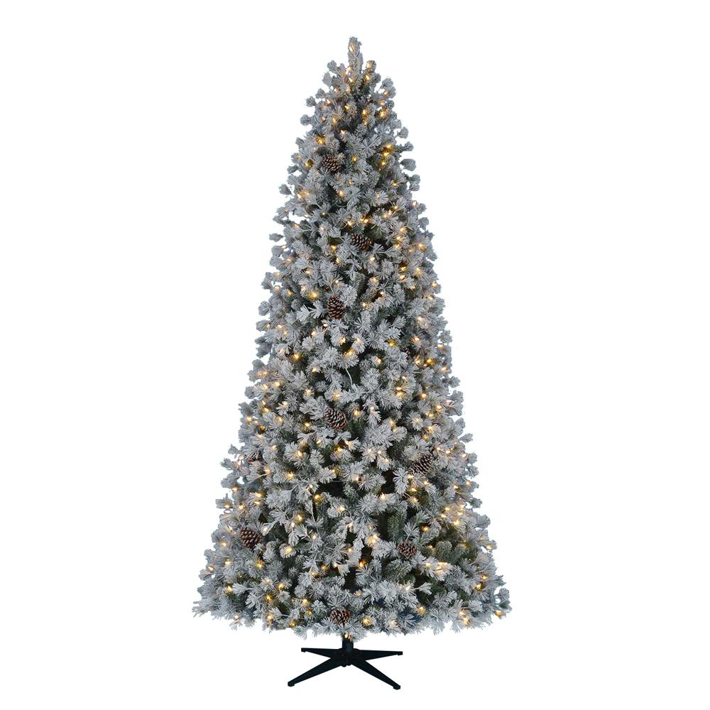 Huge Pre-Lit Christmas Tree Snow Covered Flocked LED Artificial Warm White Tall | eBay