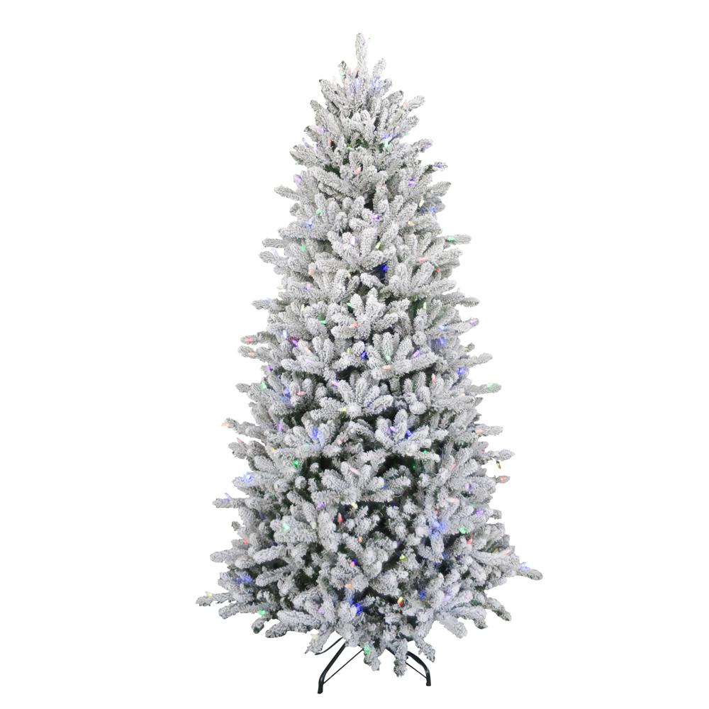 7.5 ft Flocked Balsam Fir Artificial Christmas Tree 420 ...