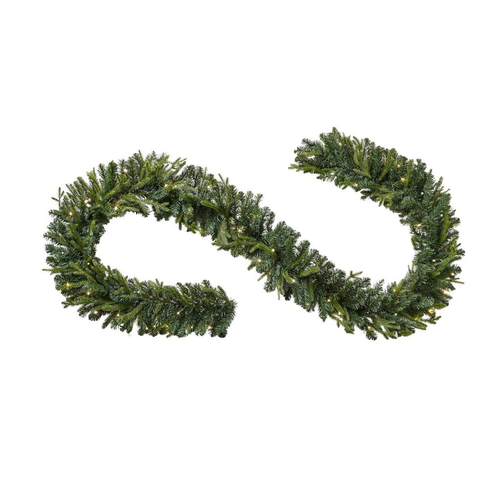 Details About 12 Ft Pre Lit Norway Christmas Garland W Battery Operated Warm White Led Light