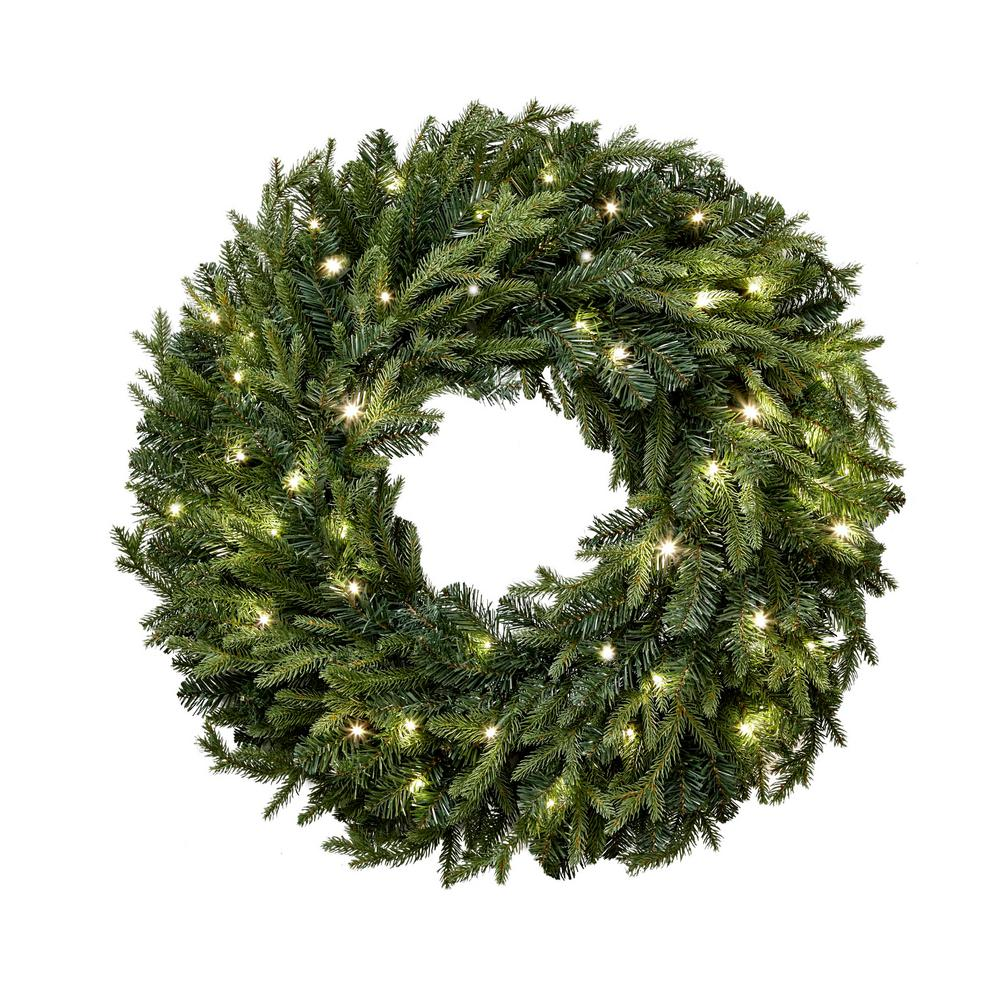 32 In. Battery Operated LED Artificial Christmas Wreath ...