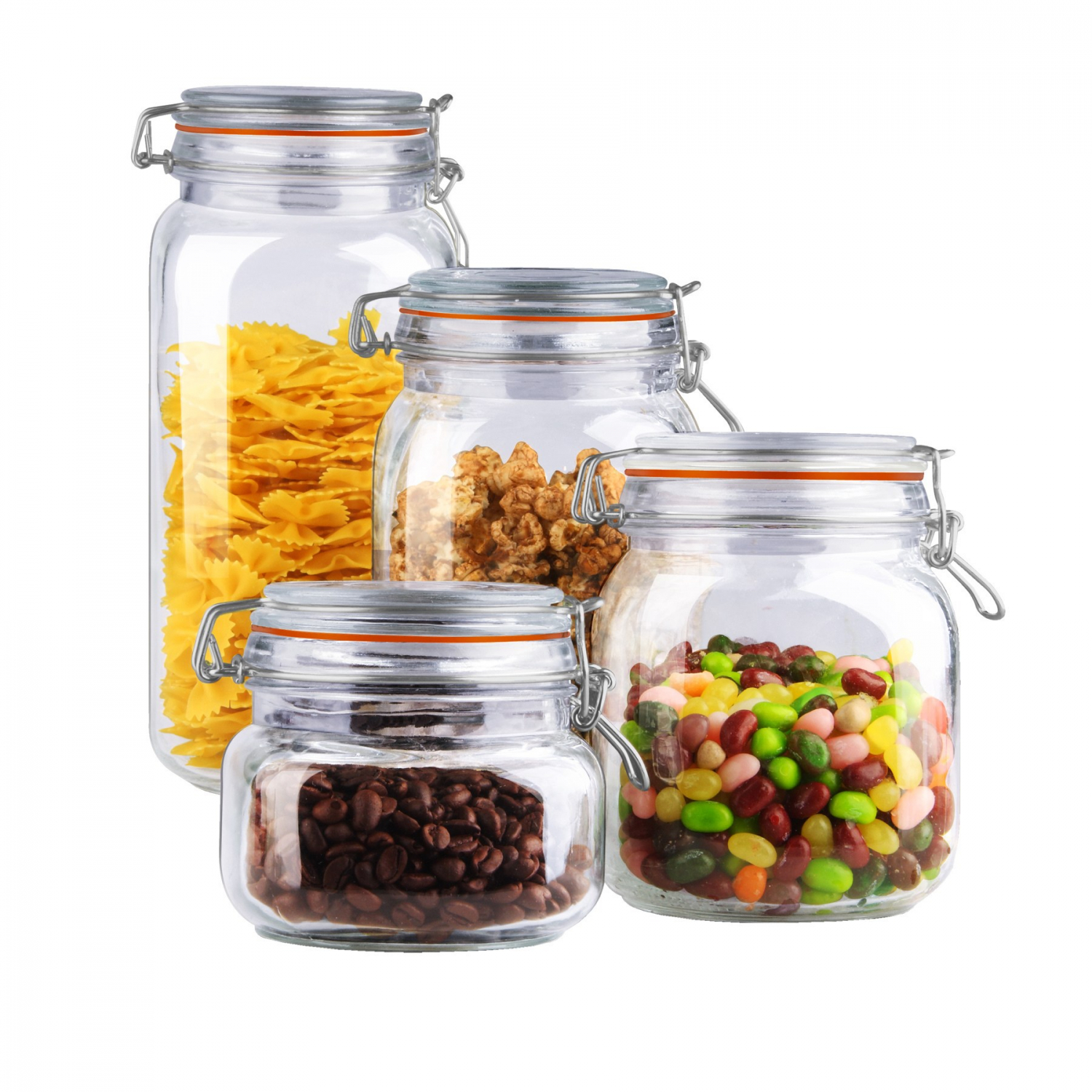 4-piece clear glass canister set durable home kitchen food storage container 732618916427   ebay