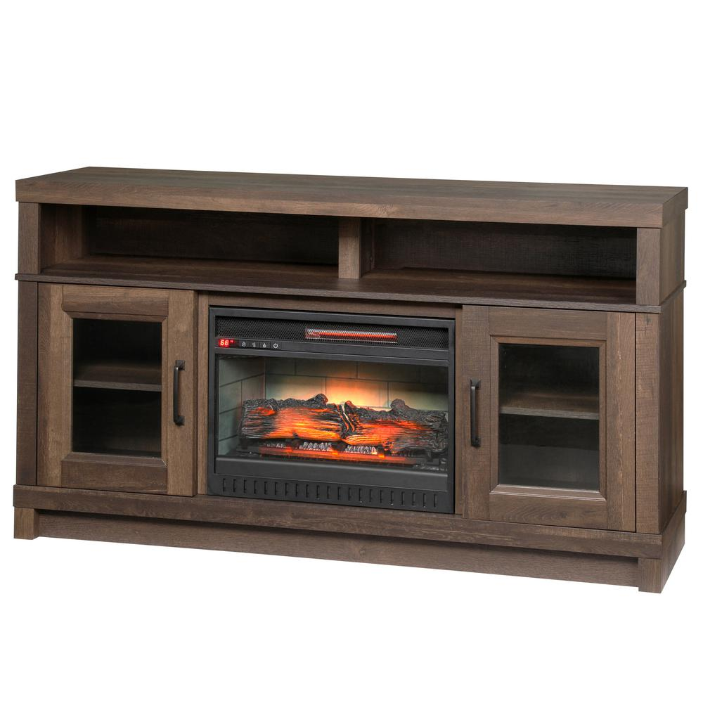 Home Decorators Collection Fireplace Ashmont Freestanding Electric Tv Stand Oak Ebay