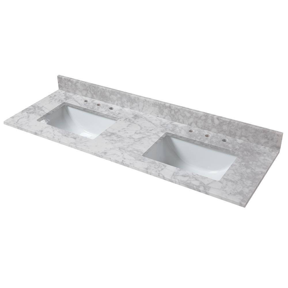 - Double Sink Vanity Top Marble Vitreous China Rectangular