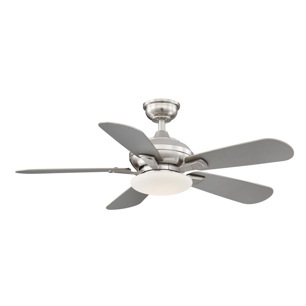 Details About Ceiling Fan Light 44 In Led Remote 5 Reversible Silver Blades Brushed Nickel
