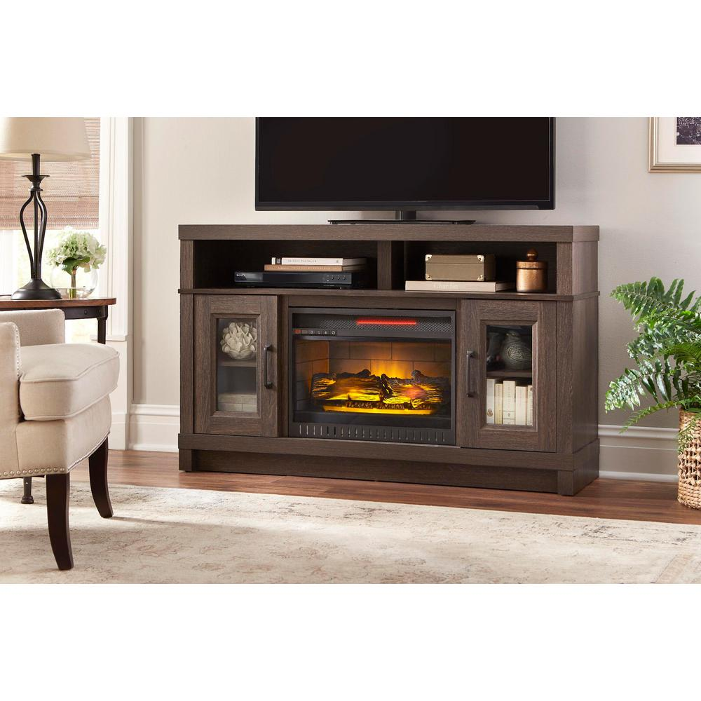 Home Decorators Collection Freestanding Electric Fireplace 54 Tv Stand Gray Oak 764053522895 Ebay