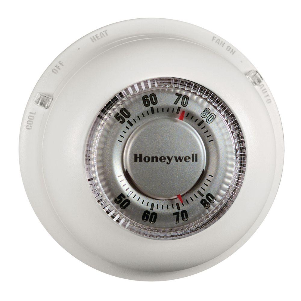 Honeywell Thermostat For Home Heating Cooling System Round Temperature Control
