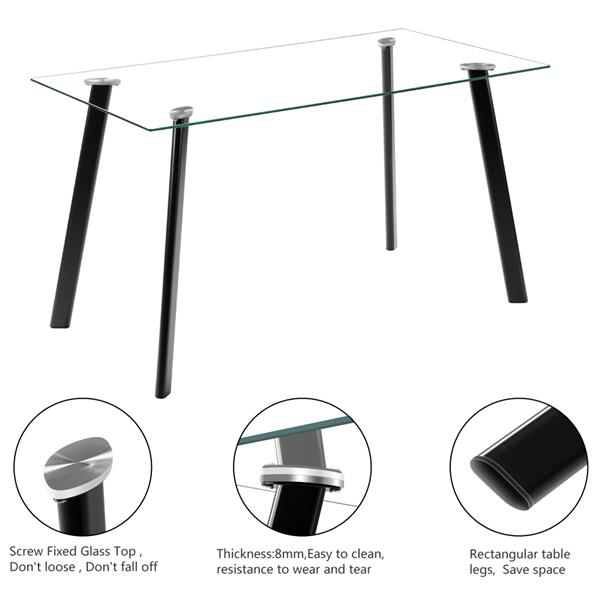 5 Piece Dining Table Set Glass 4 Chairs Metal Kitchen Room Furniture Black