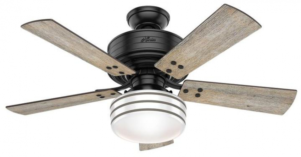 Hunter Cedar Key 44 In Matte Black Led Indoor Outdoor Ceiling Fan With Light Kit And Remote