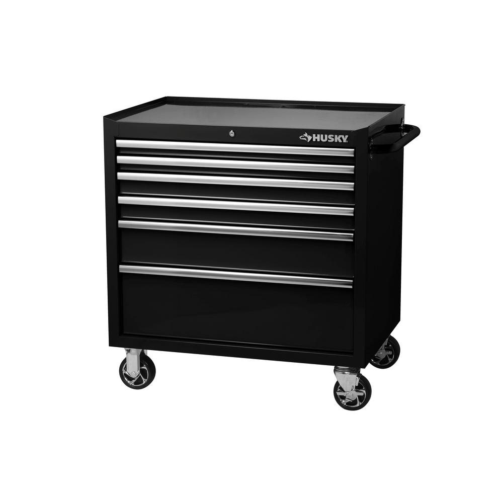 Husky Tool Cart >> Details About Husky Tool Storage Chest Cabinet 36 In W X 24 5 In D 6 Drawer Rolling Black