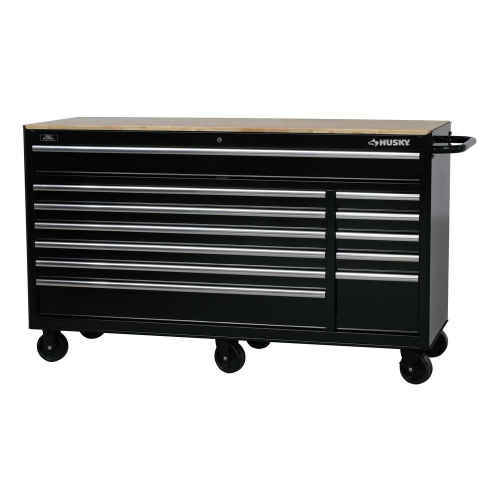 Husky Tool Cart >> Details About Husky 66 In W 12 Drawer Deep Tool Chest Mobile Workbench In Gloss Black With