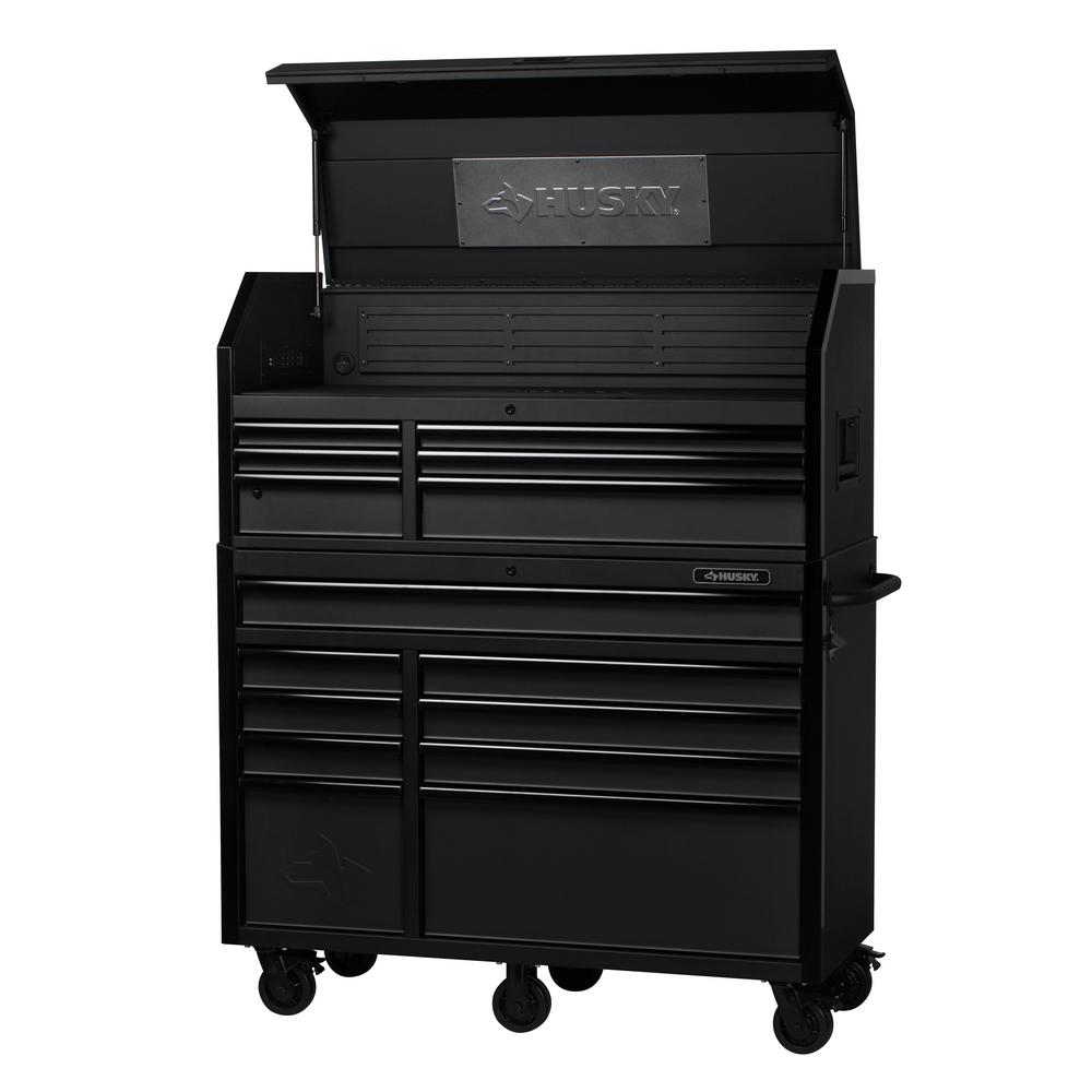 Husky Tool Cart >> Details About Husky Tool Chest Rolling Cabinet Combo 52 In W X 21 7 In D 15 Drawer Black