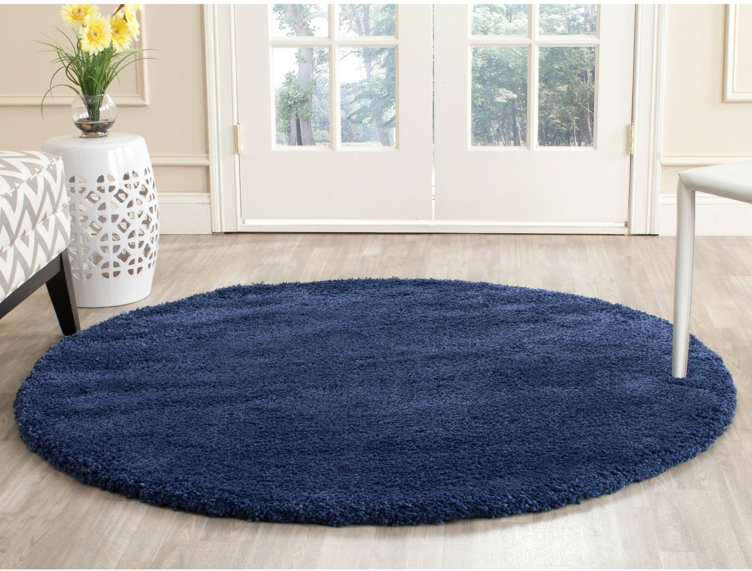 Details About Indoor Modern Contemporary Safavieh Milan Shag Navy Blue Rug 3 X 3 Round