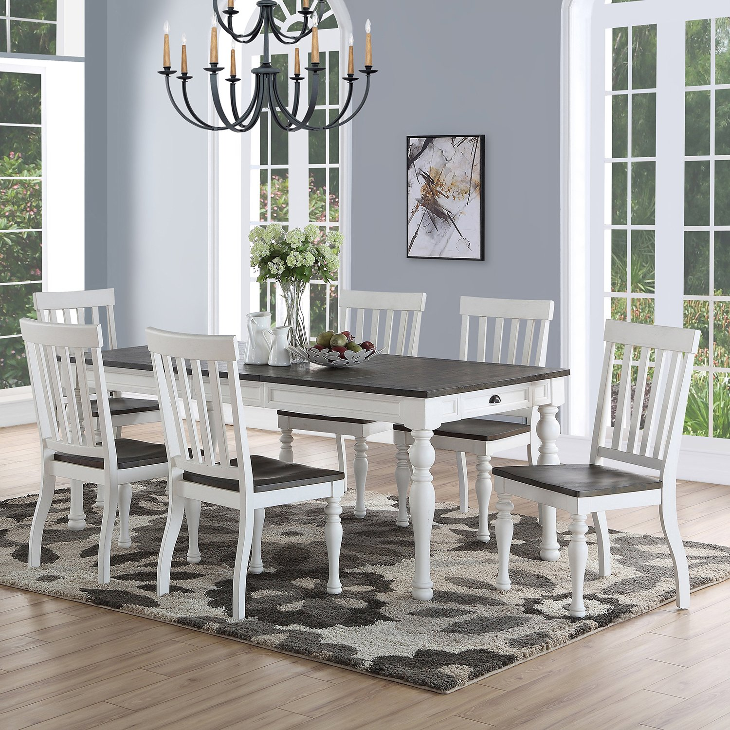 Details about Laurel 7 Piece Rustic Farmhouse Dining Set White Dark Brown  Contrast Shabby Chic