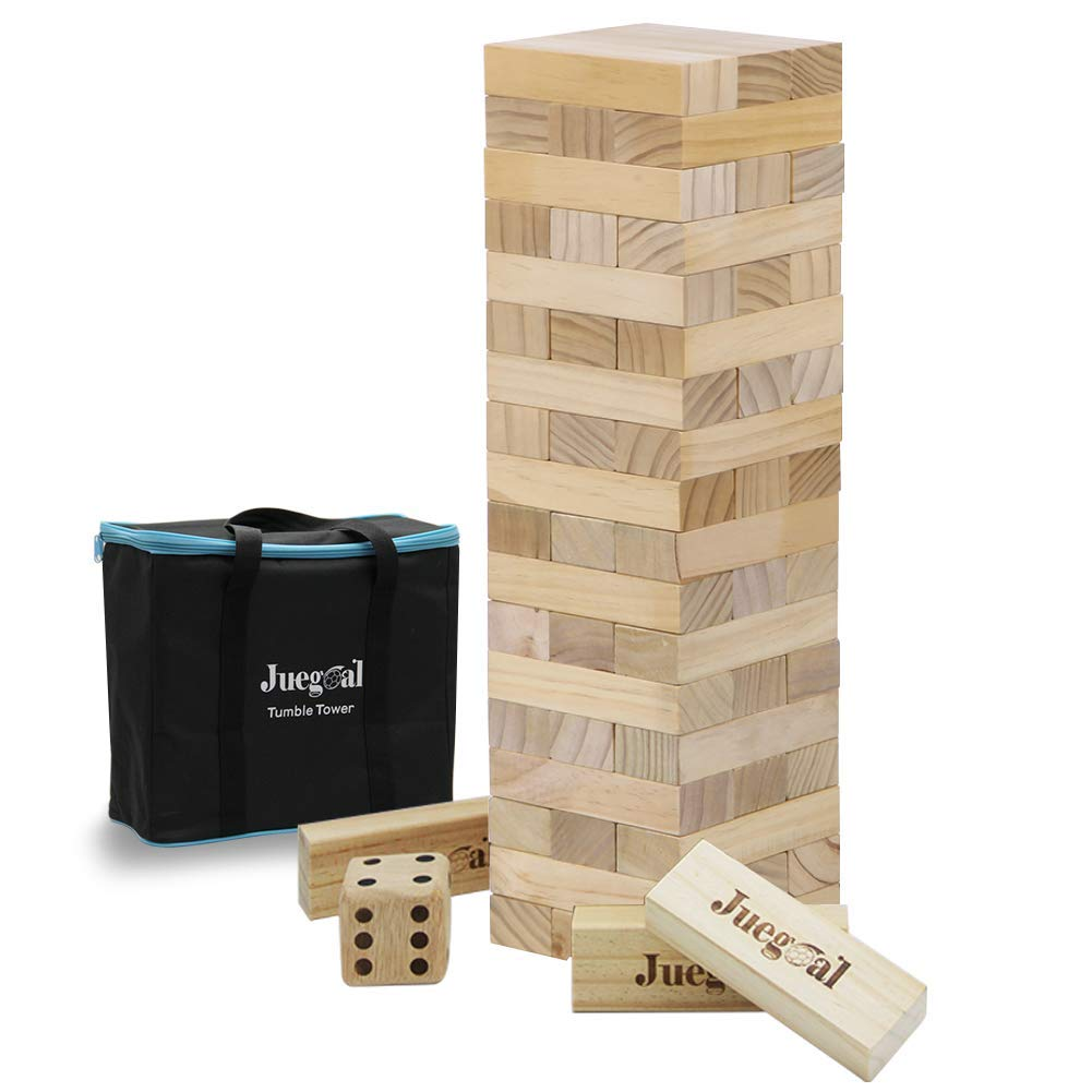 Timber Tower Wood Block Stacking Game Picnic Party Pool Lawn Outdoor 48 Pieces