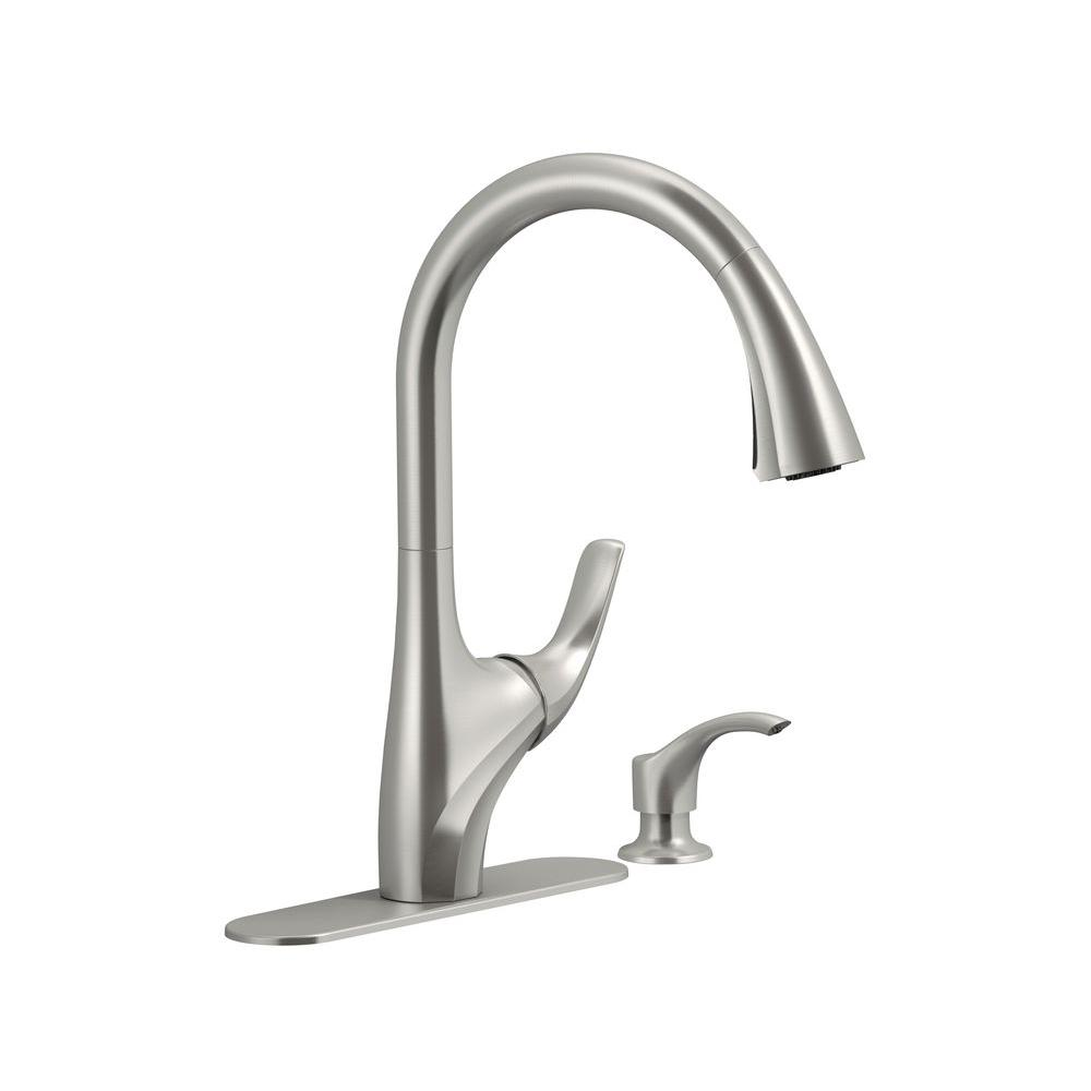 Details about KOHLER Pull-Down Sprayer Kitchen Faucet Single-Handle Vibrant  Stainless Steel