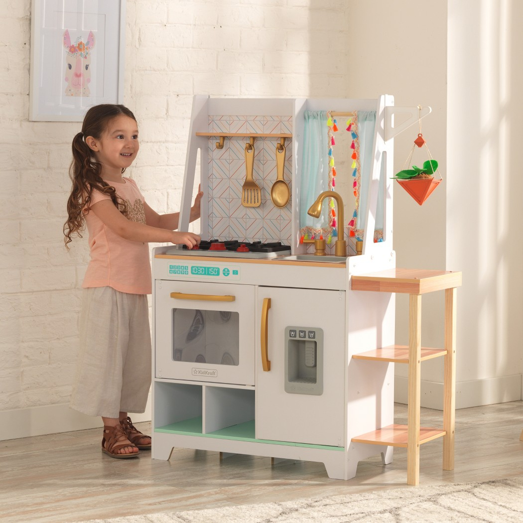 Details about kidkraft vintage luxe boho bungalow wooden play kitchen set toy gift