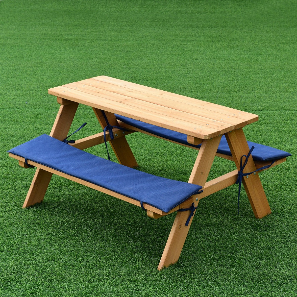 Details About Kids Wooden Picnic Beach Table Bench Set Cushion Indoor Or Outdoor Use New