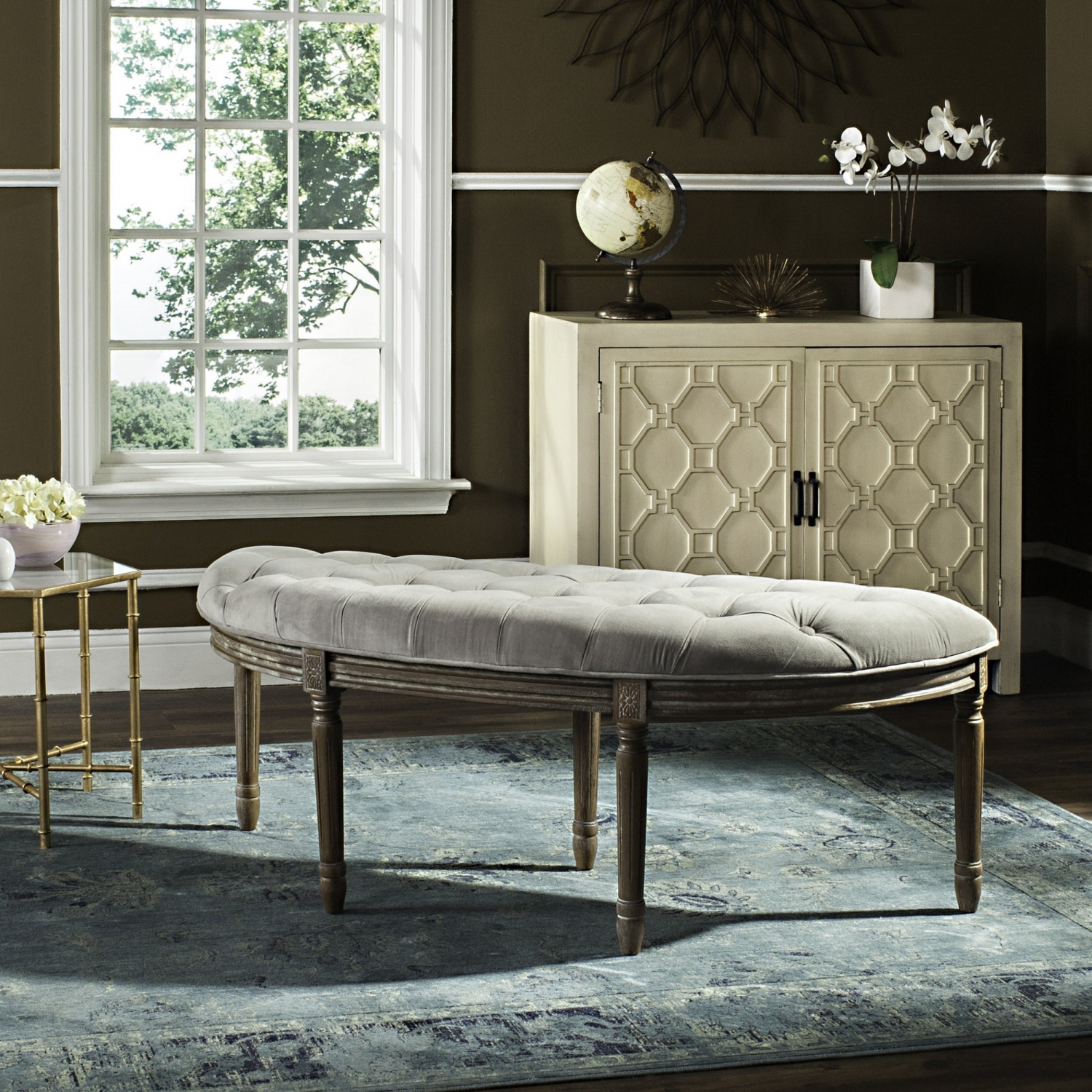 Wondrous Details About Lanier Tufted Rustic Semi Circle Grey Bench 50 X 19 3 X 19 3 Ibusinesslaw Wood Chair Design Ideas Ibusinesslaworg
