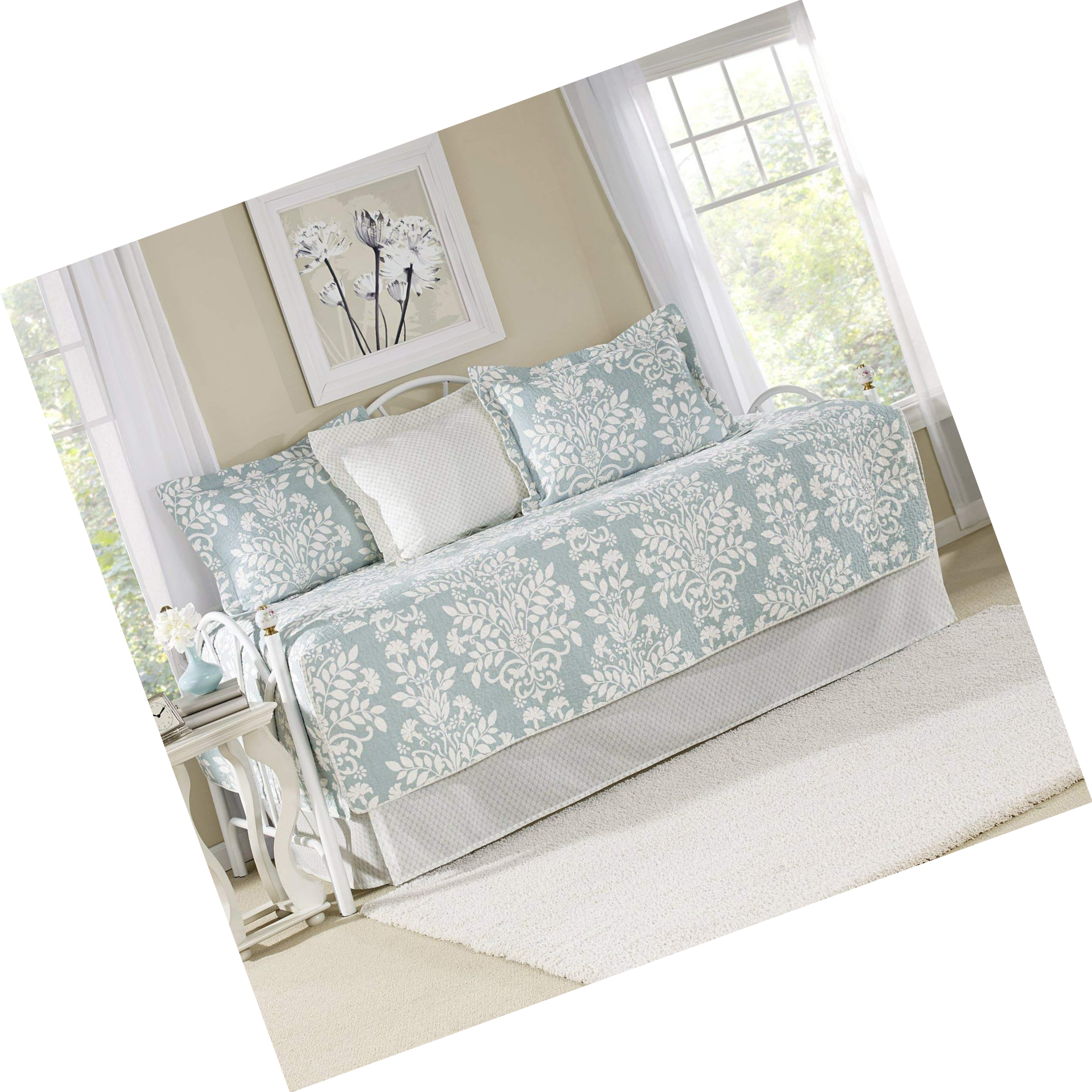 Laura Ashley 5 Piece Rowland Breeze Daybed Cover Set, Blue